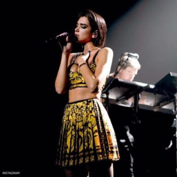 Dua Lipa Young Versace Black & Gold Baroque Print Mini Me Skirt