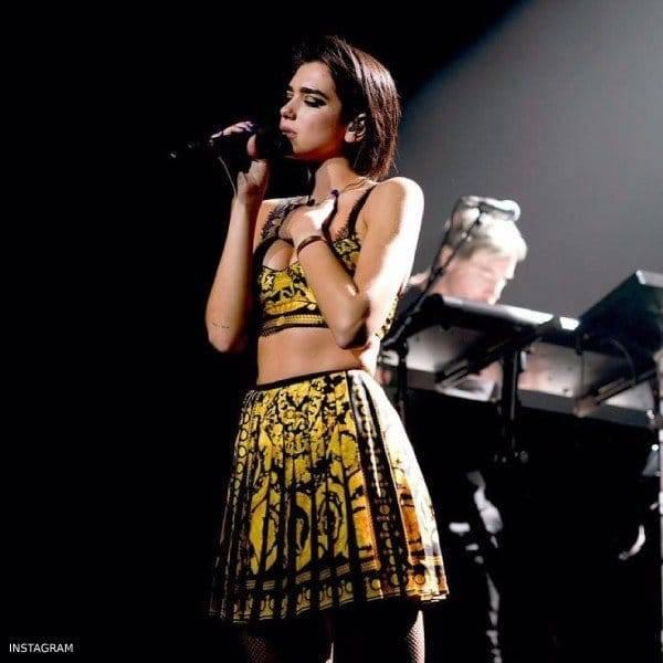 Dua Lipa Young Versace Black & Gold Baroque Print Mini Me Skirt