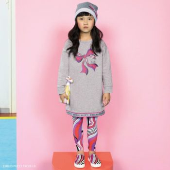 EMILIO PUCCI Grey Logo & Boy Sweatshirt Dress