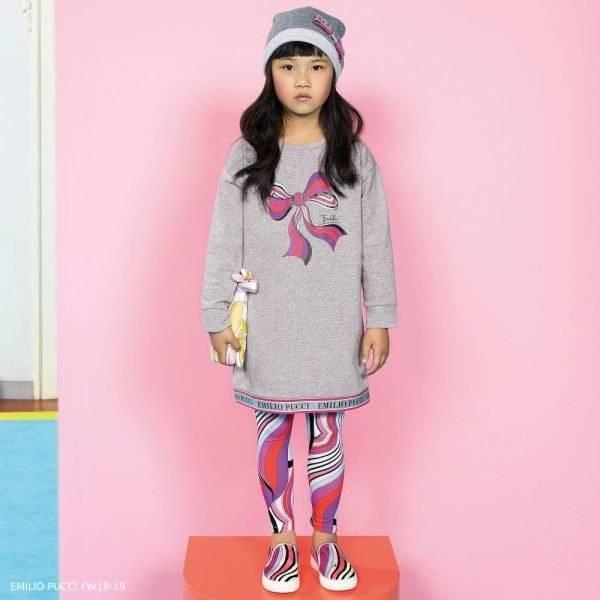 EMILIO PUCCI Grey Logo & Boy Sweatshirt Dress