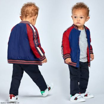 GUCCI Baby Boys Blue & Red Bomber Jacket