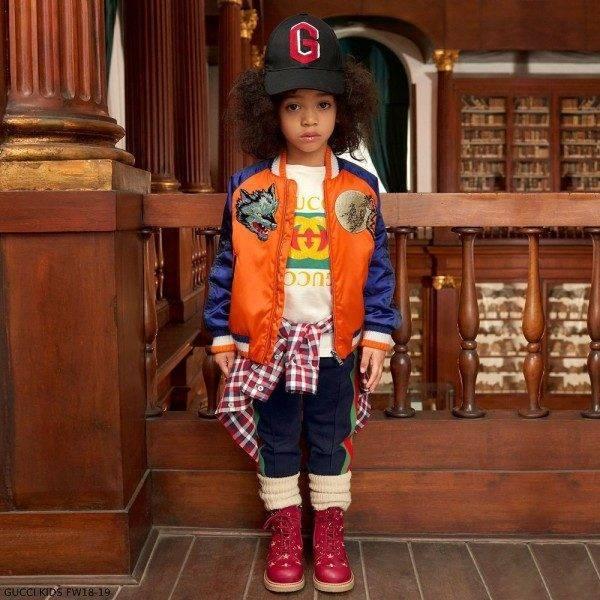 GUCCI Boys Blue & Orange Bomber Jacket