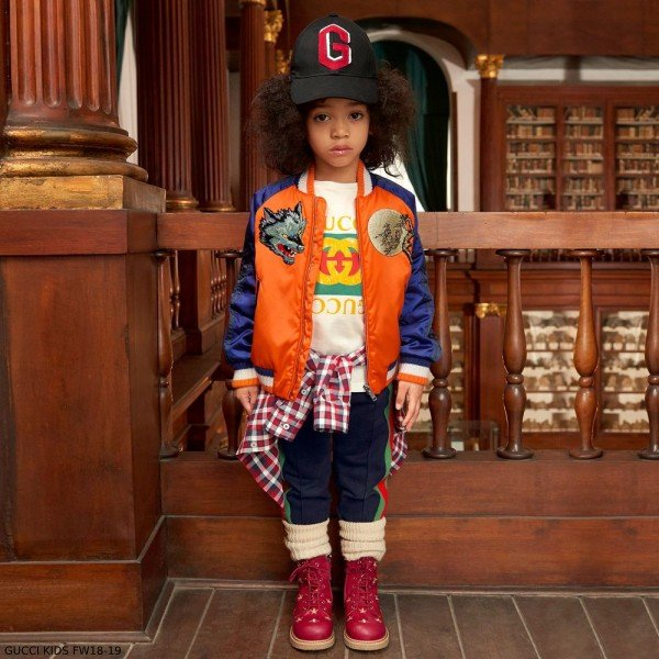 GUCCI BOYS BLUE & ORANGE BOMBER JACKET