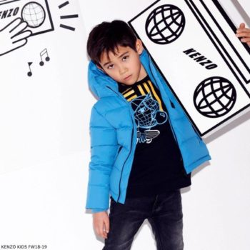 KENZO KIDS Boys Black Cotton Tiger Sweatshirt Blue Padded Jacket