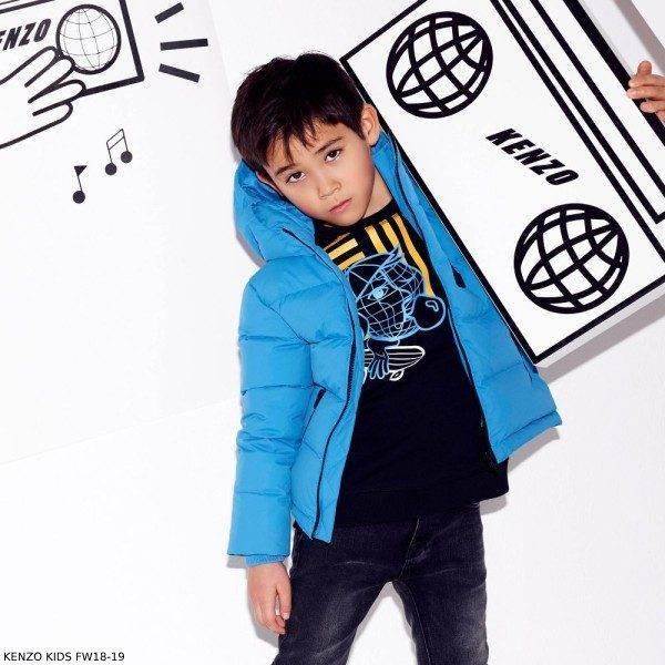 KENZO KIDS Boys Black Cotton Tiger Sweatshirt Blue Padded Jacket