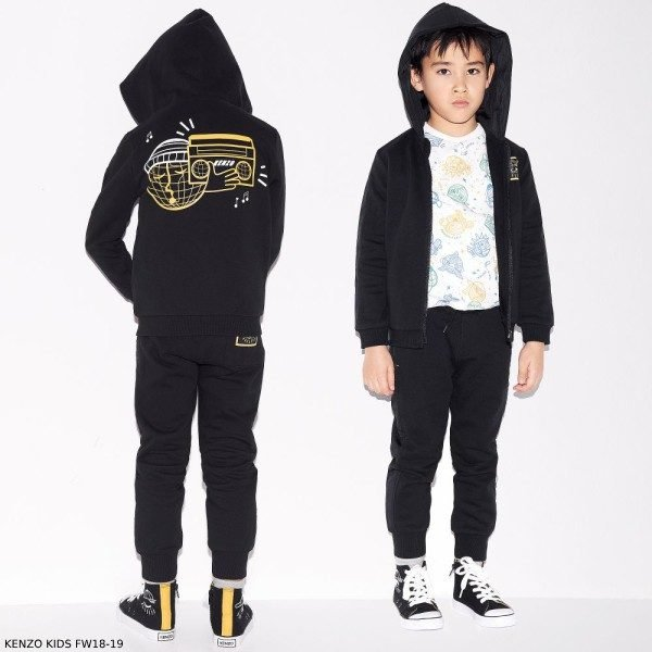 KENZO KIDS Boys Black Zip-Up Hooded Logo Eye Sweatshirt & Joggers