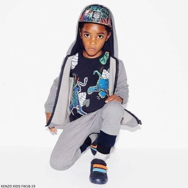 KENZO KIDS Boys Blue Jungle Fantastic Cotton Shirt Grey Sweatsuit