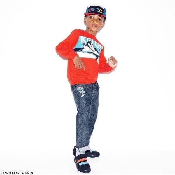 KENZO KIDS Boys Orange Iceberg Flamingo Print Sweater Boyfriend Jeans