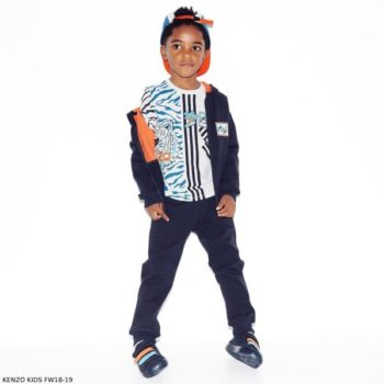 KENZO KIDS Boys White Iceberg Print Cotton Shirt Navy Blue Sweatsuit