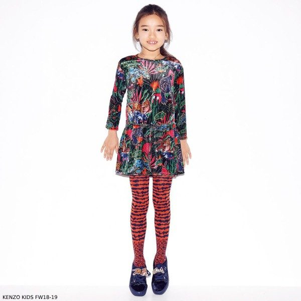 KENZO KIDS Girls Colorful Jungle Fantastic Print Velvet Dress