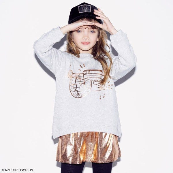 KENZO KIDS Girls Grey & Copper 2 Piece Music Sweater Dress