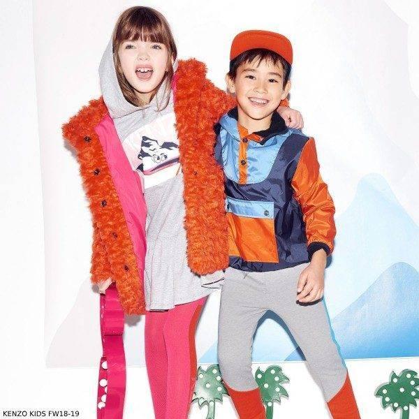 KENZO KIDS Girls Orange Fur Coat Boys Blue Windbreaker