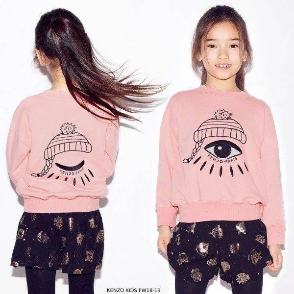 KENZO KIDS Girls Pink Logo Sweatshirt Black & Rose Gold Shorts