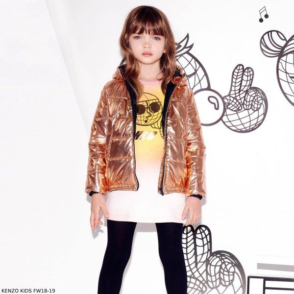 KENZO KIDS Girls Pink Yellow Cotton Sweater Dress Copper Puffer Jacket