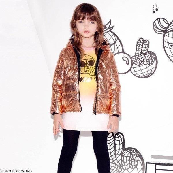 3c64d00e KENZO KIDS Girls Pink Yellow Sweater Dress & Copper Puffer Jacket