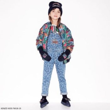 KENZO KIDS Girls Reversible Jungle Fantastic Bomber Jacket Chambra Blue Animal Print Overalls