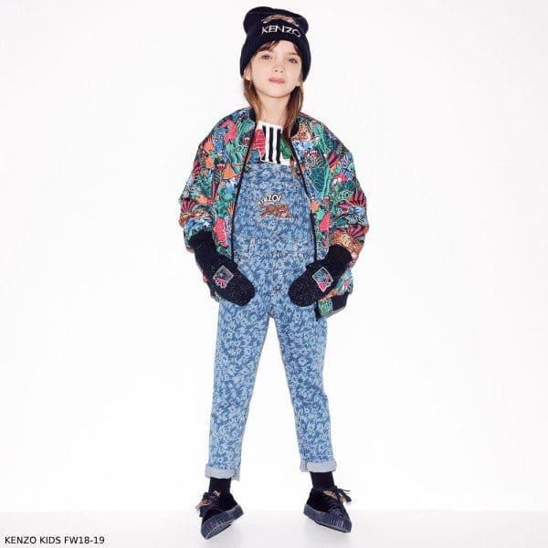 KENZO KIDS Girls Reversible Jungle Fantastic Bomber Jacket & Chambray Blue Animal Print Overalls