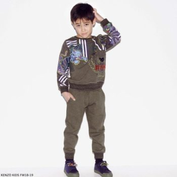 KENZO KIDS Khaki Green Cotton Tiger Sweatshirt & Joggers