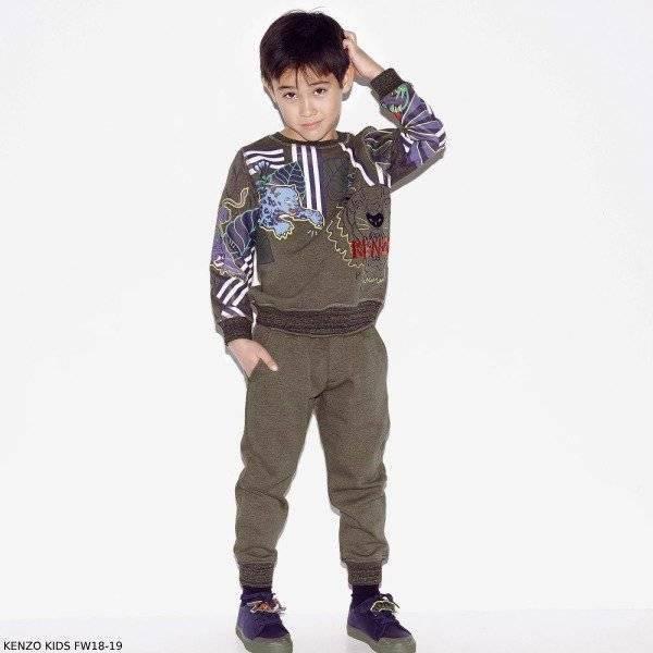 KENZO KIDS Khaki Green Cotton Tiger Sweatshirt & Joggers