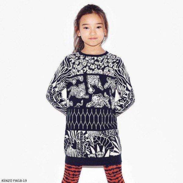 KENZO KIDS Girls Navy White Tiger Cotton Sweater Dress