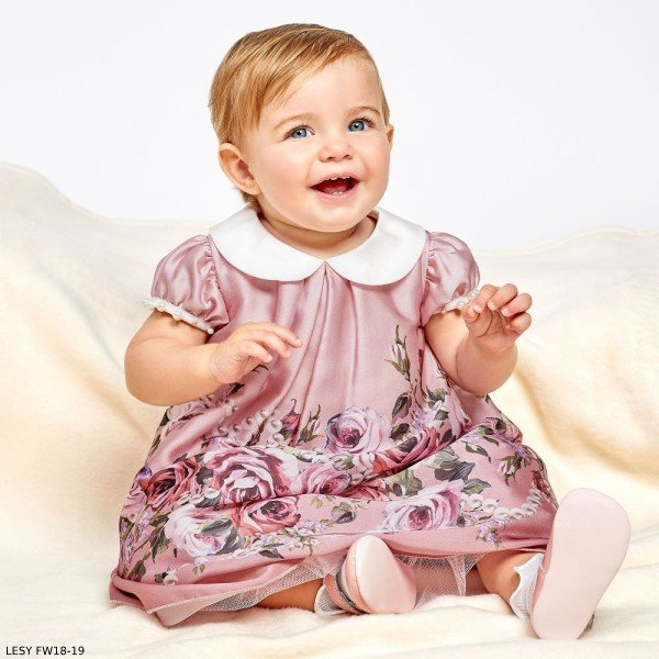 LESY Baby Girls Pink Floral Dress (1)