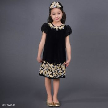 LESY Black Embroidered Gold Velvet Party Dress