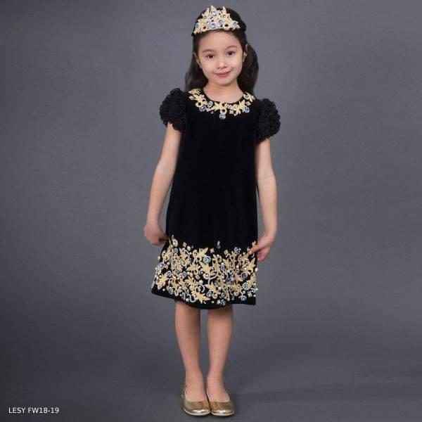 LESY Black Embroidered Gold Velvet Party Dress