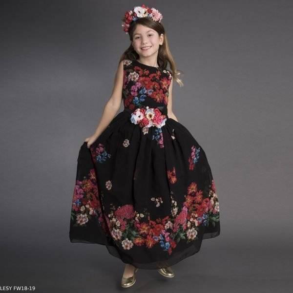 LESY Girls Black Floral Print Long Party Dress