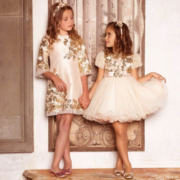 LESY Gold Pink & Gold Tulle & Sequin Party Dress