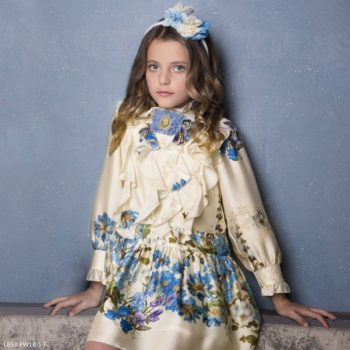LESY Ivory Blue Floral Ruffle Dress