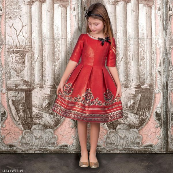 LESY Red \u0026 Gold Party Dress with Crystals