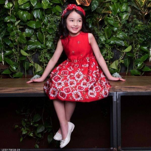 LESY Red Satin Jewel & Diamante Party Dress