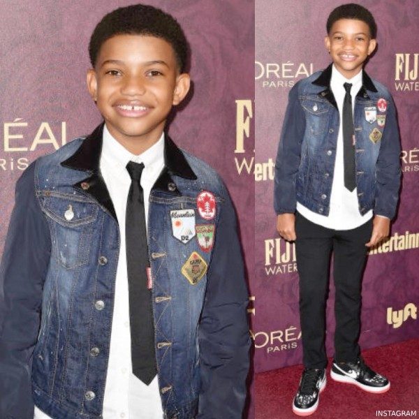 Lonnie Chavis Dsquared2 Mini Me Denim Patch Jacket Pre Emmy Party 2018
