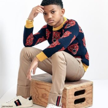 Lonnie Chavis GUCCI Boys Blue Red Tiger Sweater