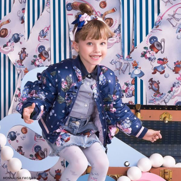 MONNALISA Girls Blue Padded Floral Bomber Jacket