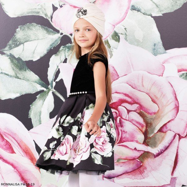 MONNALISA CHIC BLACK VELVET & ROSE SATIN PRINT DRESS