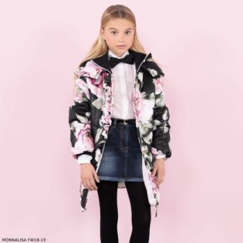 MONNALISA CHIC Girls Black & Pink Floral Print Hooded Coat