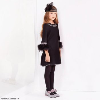 MONNALISA COUTURE Girls Black Diamante & Feather Dress