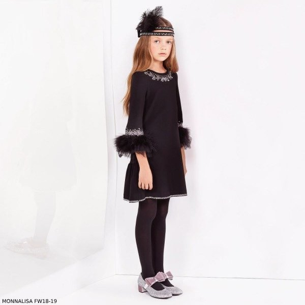 MONNALISA COUTURE Girls Black Diamante & Feather Dress