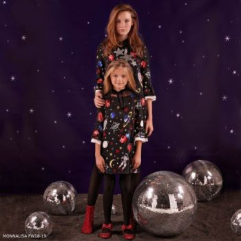 MONNALISA Girls Black Outer Space Print Dress