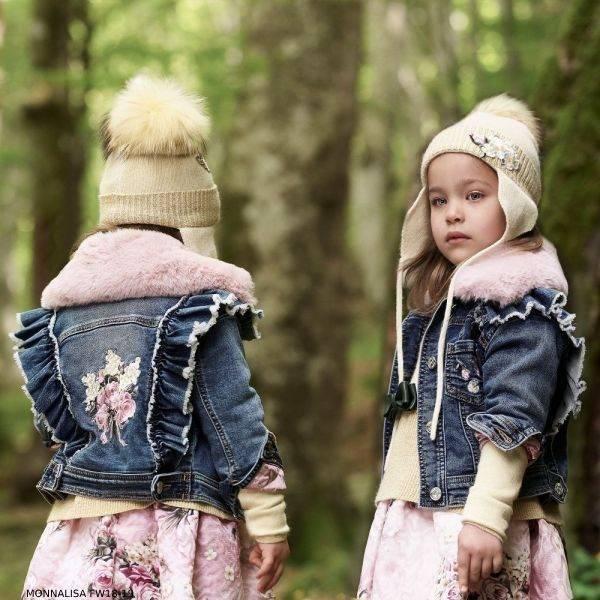 MONNALISA Girls Blue Denim Jacket with Pink Faux Fur