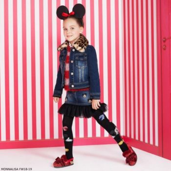 MONNALISA Girls Disney Denim Skirt & Mickey Denim Jacket