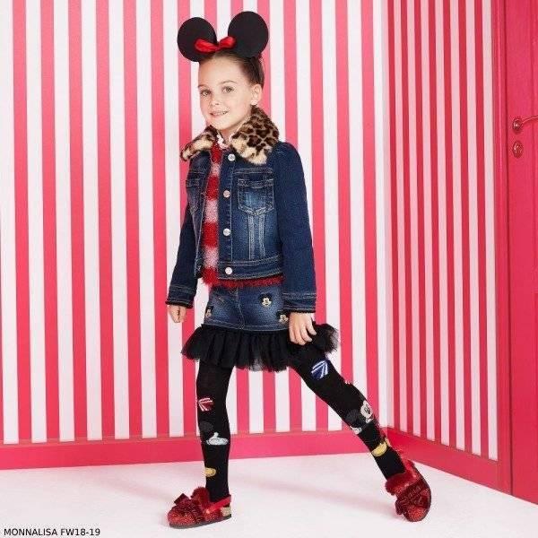 MONNALISA Girls Disney Denim Skirt & Mickey Denim Jacket