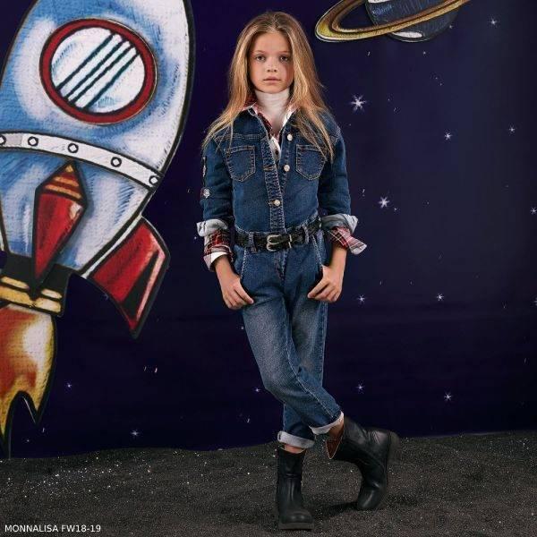MONNALISA Girls Outer Space Blue Denim Jumpsuit