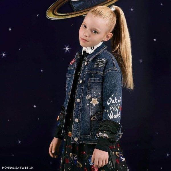 MONNALISA Girls Outer Space Blue Denim Jacket