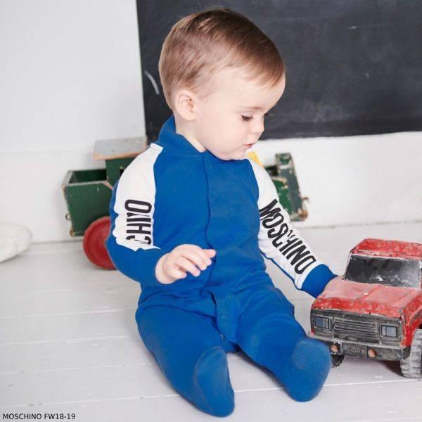 MOSCHINO BABY Boy Blue Babygrow & Hat Gift Set