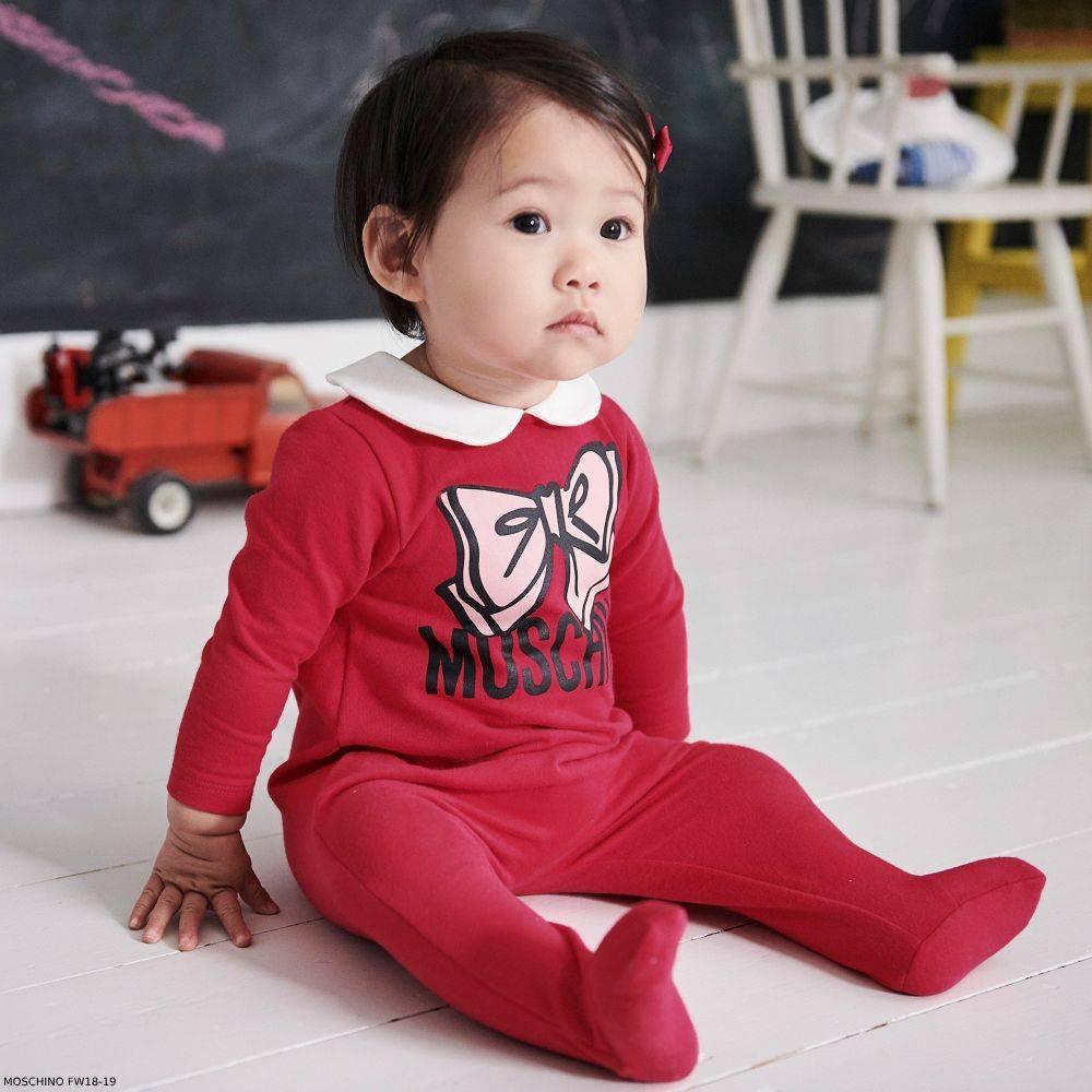 MOSCHINO BABY Girl Pink Logo Babygrow