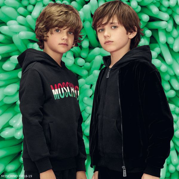 MOSCHINO KID-TEEN Boys Mini Me Black Italian Flag Hoodie