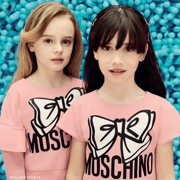 MOSCHINO KID-TEEN Girls Pink Bow Dress
