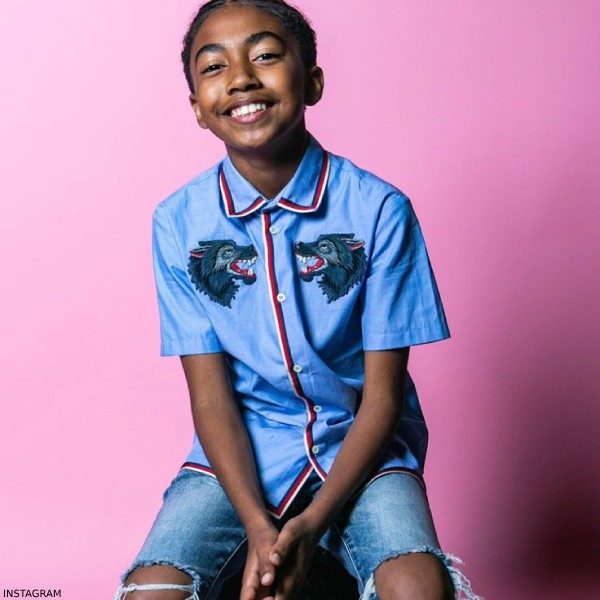Miles Brown GUCCI Boys Blue Wolves Mini Me Shirt